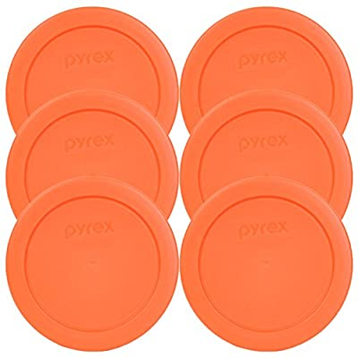 Pyrex 7200-PC Round 2 Cup Storage Lid for Glass Bowls (6, Orange)