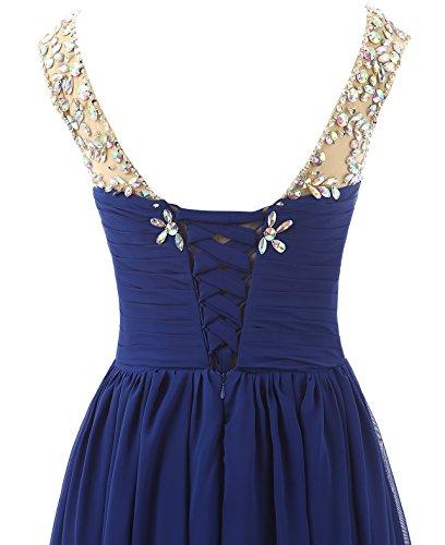 Abendkleider Changjie Chiffon Elegant Königsblau Perlen Brautjungfernkleid Lang Damen Abiballkleid A Linie Empire pXrwqxpnv