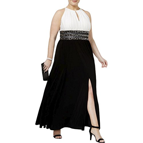 R&M Richards Womens Full-Length Beaded Formal Dress Black-Ivory 14W