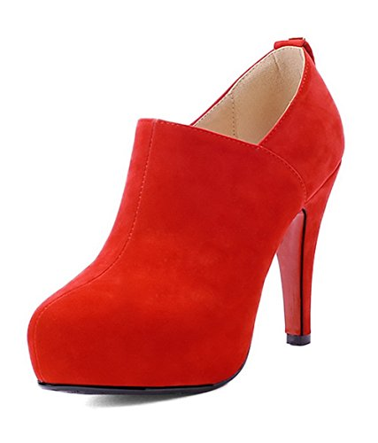 AllhqFashion Mujeres Sólido Gamuza(Imitado) Tacón Alto Cremallera Puntera Redonda Botas Rojo