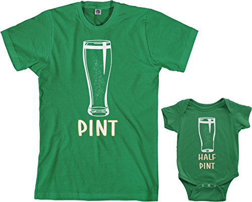 Threadrock Pint & Half Pint Infant Bodysuit & Men's T-Shirt Matching Set (Baby: 6M, Kelly Green|Men's: L, Kelly Green)