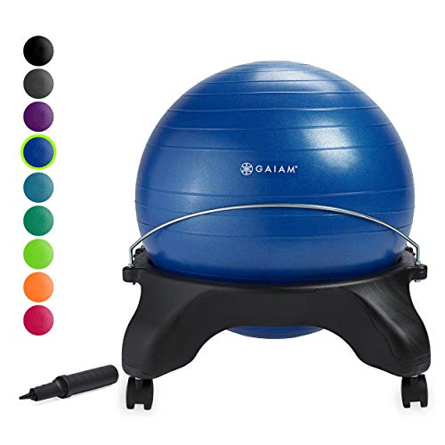 Gaiam Classic Backless Balance Ball Chair - Exercise Stability Yoga Ball Premium Ergonomic Chair for Home and Office Desk with Air Pump, Exercise Guide and Satisfaction Guarantee, Blue