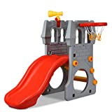 Costzon Toddler Slide, 2-Step Children Castle Slide with Basketball Hoop and Telescope Toy, Kids Slide for Both Indoors & Outdoors, Gray+Red+Yellow