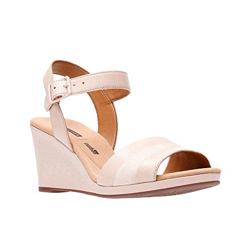 Clarks Light Pink Leather 'Lafley Aletha' High Wedge Heel Peep Toe Sandals K4Oxdlu