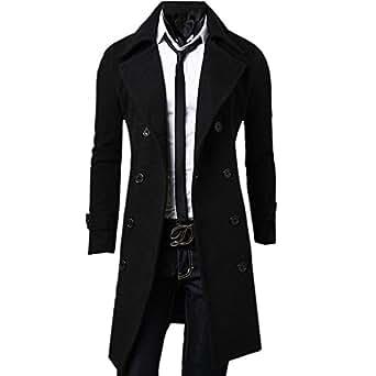 Zeagoo Men's Trench Coat Winter Long Jacket Double Breasted Overcoat (Medium, Black)