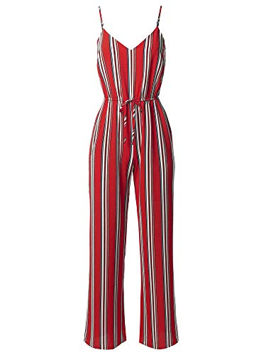 Awesome21 Casual Stripe Printed Wide Leg Camisole Jumpsuit Romper Bright Red M