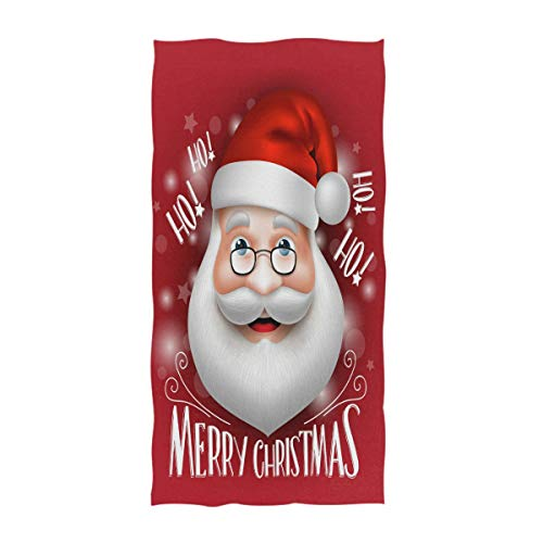 (Naanle 3D Cute Realistic Santa Claus Greeting Merry Christmas with Laugh Hohoho Printed Soft Bath Towel Guest Hand Towels Multipurpose for Bathroom, Hotel, Gym and Spa (16