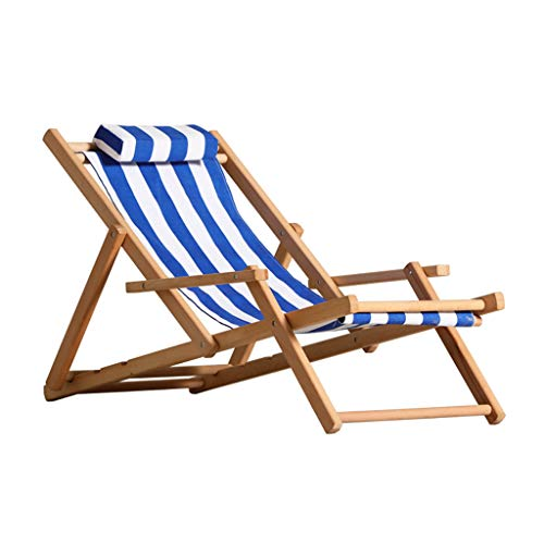 Traditional Classic Deck Chairs with Armrests Hardwood Frame   Sun Lounger Recliners   Folding Reclining Garden Chair Sunloungers, Blue White Stripe Max. 150KG