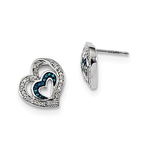 Sterling Silver Rhod Plated Blue and White Diamond Heart Post - Heart Diamond Post