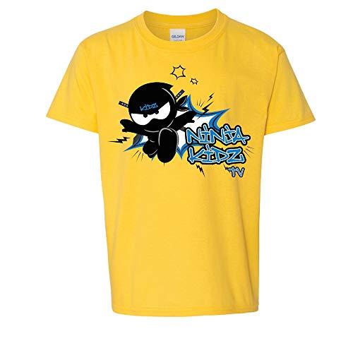 Ninja Kidz- Ninja Spark Tee: Short Sleeve (Yellow, Medium)