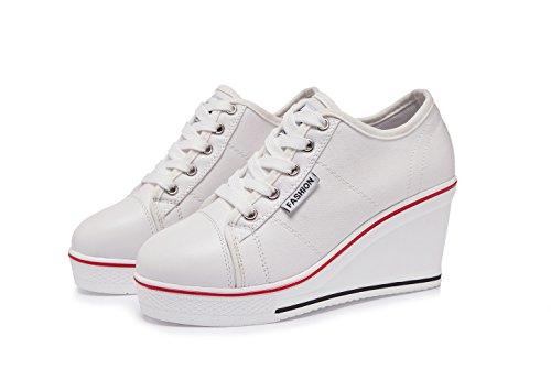 Sport de Femme Zetiy Baskets Toile Chaussure Chaussures Mode en Compensées Sneakers qwBY4xvBX
