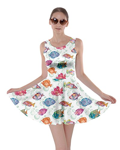 CowCow Womens Colorful Sea Pattern Tropical Fish Medusa Ocean Skater Dress, Colorful - XS]()