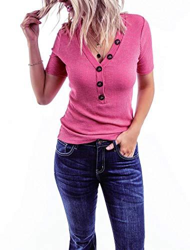 Minthunter Women's Short Sleeve V Neck Shirts Ribbed Basic Henley Tops -