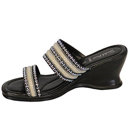 Bout Womens Sh226526 Par Noir Ouvert Chaussures La De House Diamante Sandal Femmes 7URdqwR