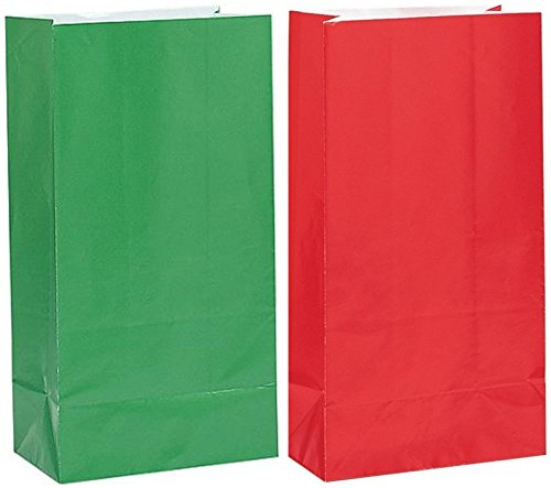 Christmas Luminaries For Sale - Holiday Sale!! - 24 Favor Paper Bags 12 Red Paper bags and 12 Green Paper Bags - Measure 10