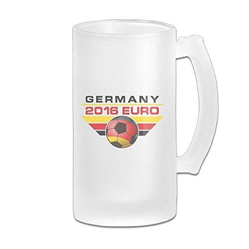 - 2016 Euro Germany Soccer Champion 16OZ Frosted Glass Beer Mug Novelty Glass Beer Mug