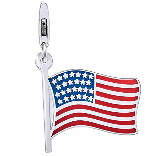 Jovana Sterling Silver Links Charm American Flag Enamel with Lobster Clasp