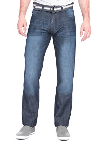Colours by Alexander Julian Mens Belted Designer Slim Straight Leg Denim Jean With Belt - Sam - Regular, 34/32 (Trousers Tailor Made)