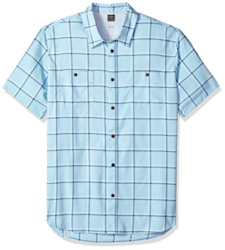 Button Quiksilver Up Shirt - Quiksilver Waterman Men's Wake Plaid Button Down Shirt, Crystal Blue XL