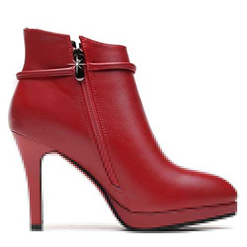 Red Boots Toe High Bootie Warmth Heel Womens Pointed Ankle Winter Dethan anvYqIwO