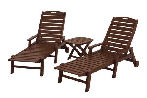 POLYWOOD PWS145-1-MA Nautical 3-Piece Chaise Set, Mahogany (Painting Patio Wood Furniture)