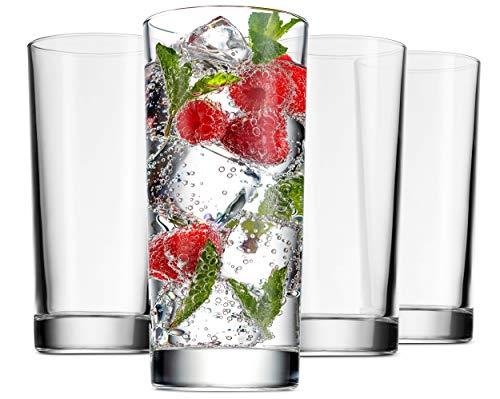 Godinger Highball Glasses, Italian Made Glass Tall Drinking Glasses Beverage Cups – 14oz, Set of 4