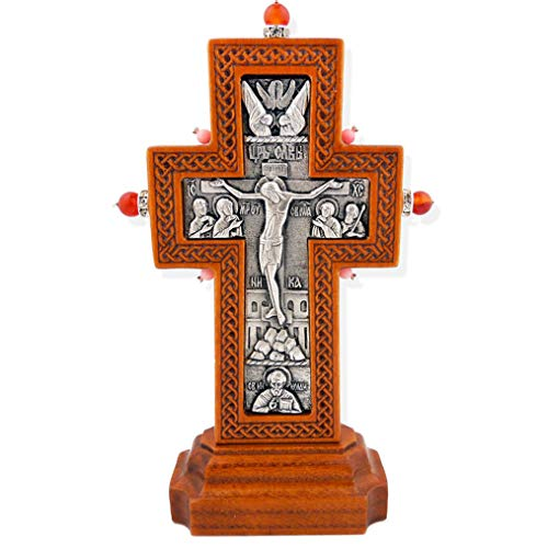 (World Faith 5-1/4 x 3-1/4 Inch Solid Wood Standing Silver Plated Icon Cross with Solid Wood on Oak and Ash Base with Natural Stones)