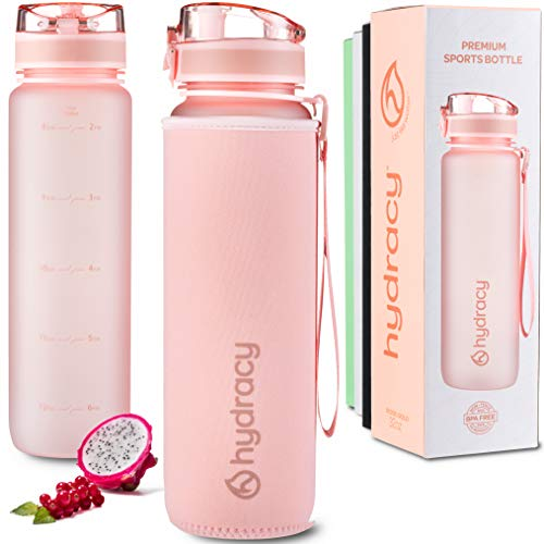 Hydracy Water Bottle with Time Marker – Large 500 ml 17 Oz BPA Free Water Bottle – Leak Proof & No Sweat Gym Bottle with Fruit Infuser Strainer – Ideal for Fitness or Sports & Outdoors – Rose Gold