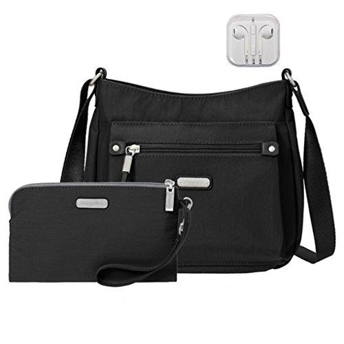 Baggallini Uptown Crossbody Handbag w RFID Wristlet Bundle w Travel Earphones (Black)