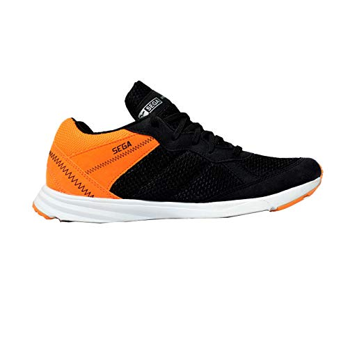 7b34c3f5b28 SEGA Men Zig-Zag02450 Black Orange Mesh Walking Shoes  Buy Online at ...
