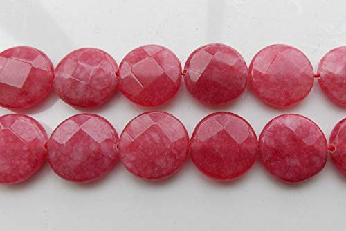 - FidgetGear AAA 20mm Red Ruby Faceted Coin Loose Beads Gemstone 15'' R-10