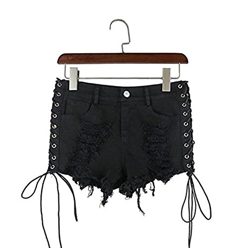 Women's Destroyed Ripped Hole Denim Shorts Sexy Short Jeans Side Straps Mini Hot Pants Clubwear (Black, M) by Olyha (Image #5)