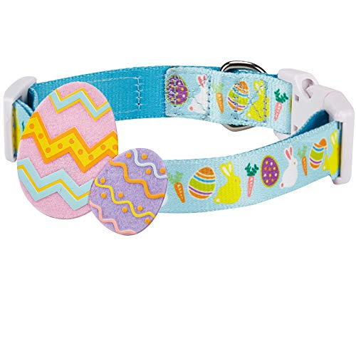 "Blueberry Pet 8 Patterns Easter Spring Bunny and Egg Designer Dog Collar in Sky Blue, Small, Neck 12""-16"", Adjustable Collars for Puppy Dogs"