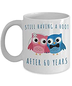 60th Anniversary Coffee Mug Still Having a Hoot After 60 Years Together Sixtieth Wedding Anniversary Gift Sixty Cup
