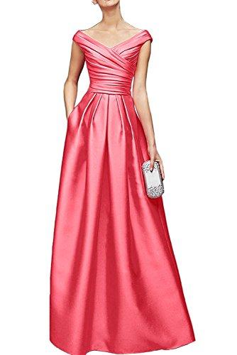 Ausschnitt Promkleider Blau Brautmutterkleider Wassermelon Abendkleider La Braut Satin Damen Marie Bodenlang V Royal xw0qIvw1