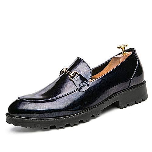 metallo bottoni bottone Fashion con stringate Scarpe Scarpe shoes Business Basse Stringate in Xujw Casual 2018 40 inglesi metallo Blu con Blu Color EU in Dimensione Men's Oxford HOUzqnZw