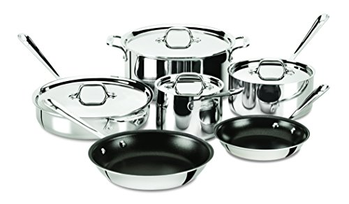 All-Clad 401488 NSR2-R Stainless Steel Tri-Ply Bonded PFOA Free Nonstick Cookware Set, 10-Piece, Silver