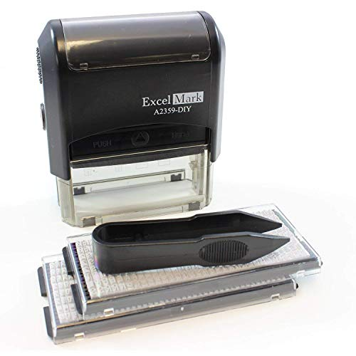 ExcelMark Self-Inking Do It Yourself Stamp Kit - A2359-DIY - Black Ink -