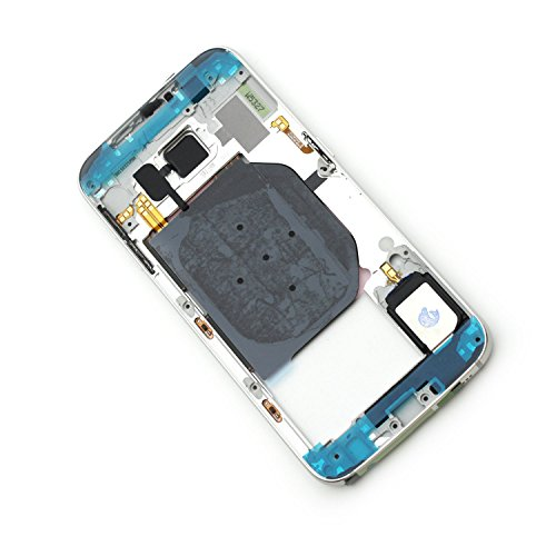 For Samsung Galaxy S6 G920P G920V Verizon G920R US Cellular G920T T-Mobile G920TP MetroPCS G920W8 G9200 G920A AT&T G920F G920FD G920I G920S Housing part Middle Frame Bezel Cover (White Pearl) (Fascia Phone White Covers)