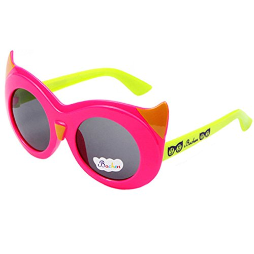 FancyG Cool Kids Style Round Shape Cute Cool Cat Eye Kitty Face Style UV 400 Protection Sunglasses Frame Eyewear - Hot Pink with Green - Shape Glasses And Face