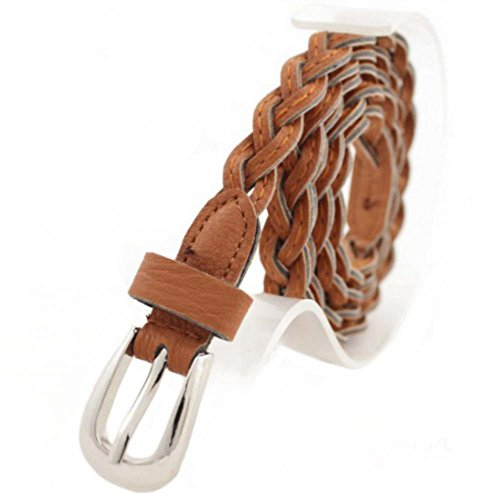Women Braided Belts Faux Leather Woven Belt For Girls Fashion Waist Buckle (Skinny Braided Belt)