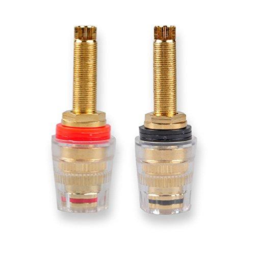 4mm Banana Plug, Conwork 2-Pack Pure Copper Binding Post for Amplifier Speaker Terminal Socket Connector -Transparent Plastic Cover ()