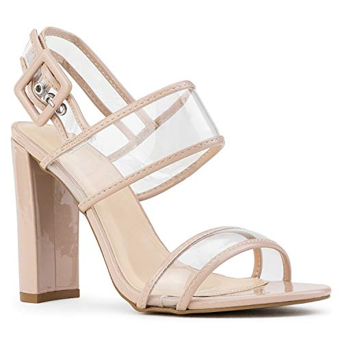 RF ROOM OF FASHION Open Toe Clear Band Slingback Chunky Heel Sandals Nude Patent Size.7