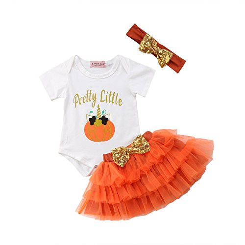 3Pcs Halloween Newborn Infant Toddler Baby Girl Pumpkin Letter Print Short Sleeve Romper+Tutu Tulle Skirt+Headband Outfit Clothing Set (Orange, 12-24 M) -