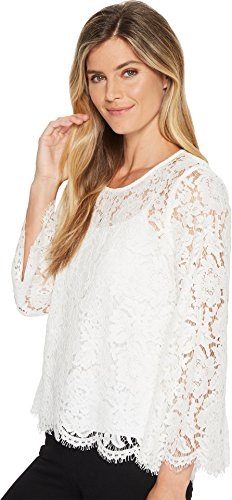 Karen Kane Women's Flare Sleeve Scallop Lace Top Off-White Small by Karen Kane (Image #1)