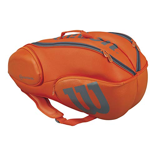 Wilson Burn Collection Racket Bag (Holds up to 9 Rackets), Orange/Gray