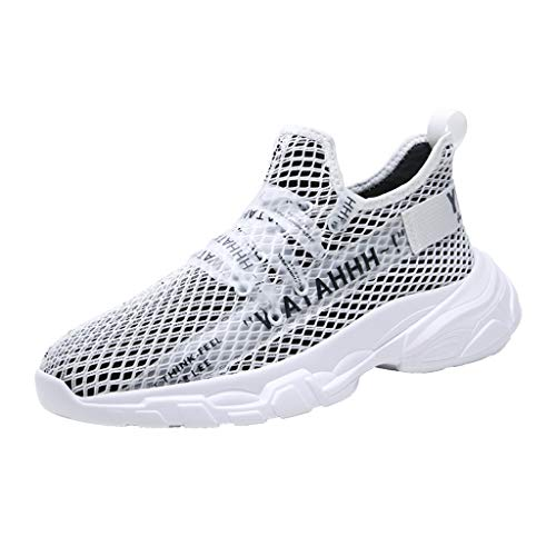 (Bralonees Men's Outdoor Mesh Breathable Running Shoes Non-Slip Sneakers Casual Lightweight Summer Fitness Road Sport Black )