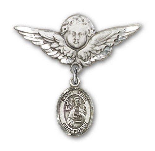 Icecarats Créatrice De Bijoux En Argent Sterling St. John Le Charme Ange Apôtre Broche De Badge 1 1/8 X 1 1/8