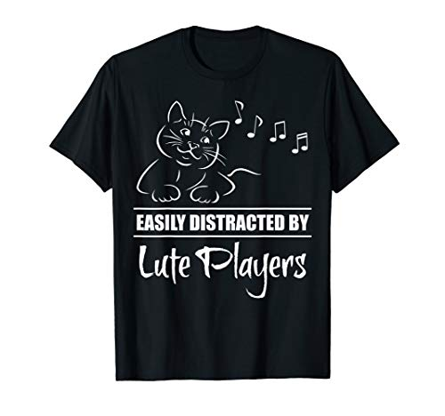 Curious Cat Easily Distracted by Lute Players Fun Whimsical T-Shirt