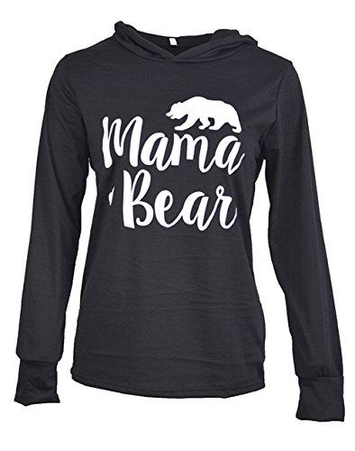 Caat Aycox Womens Mama Bear Printing Long Sleeves Casual Hooded Sweatshirt Black-L (Bear Black Hooded Sweatshirt)